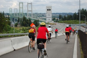 CISPES cyclists approach the Tacoma Narrows Bridge on day one of the 2009 Solidarity Cycle.